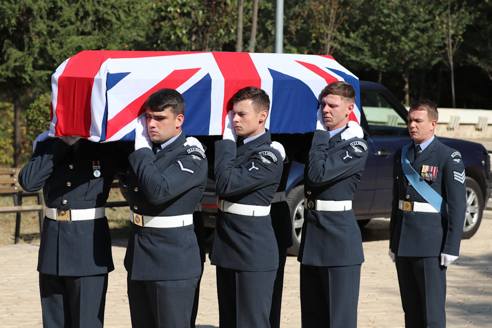 Members of the RAF Queen's Colour Squadron prepare to carry the coffin, Crown Copyright, all rights reserved