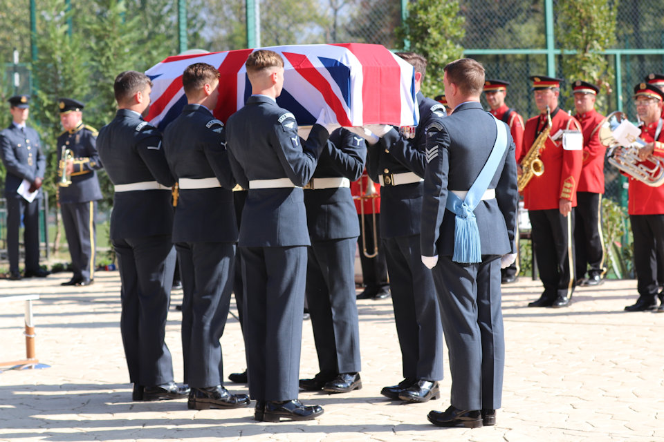 The Queen's Colour Squadron prepare to raise the coffin, Crown Copyright, all rights reserved