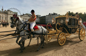 Her Majesty The Queen and King Willem Alexander leaving Horseguards Parade in a carriage