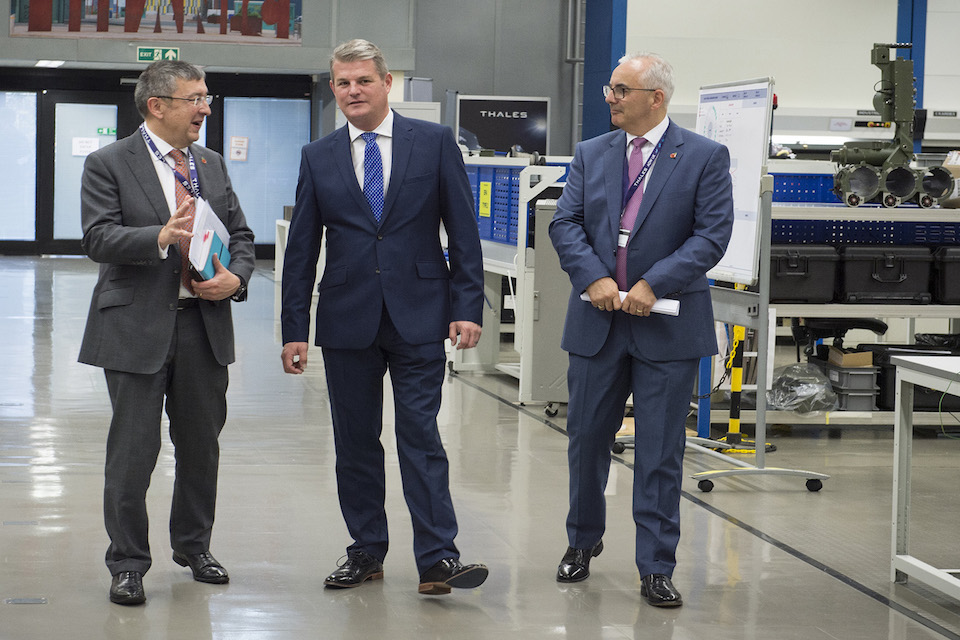 Defence Minister Stuart Andrew at Thales Belfast.
