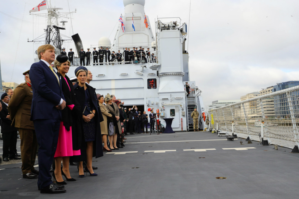 The King and Queen of the Netherlands and the Earl and Countess of Wessex on board the aboard the Dutch ship HNLMS Zeeland