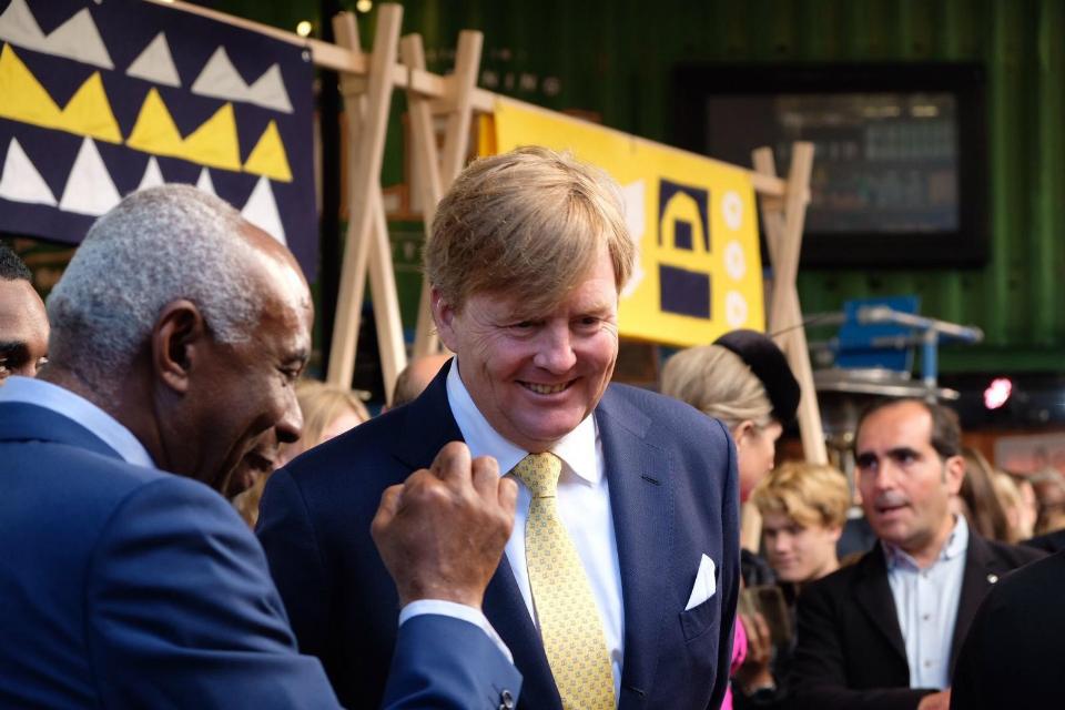King Willem-Alexander meeting people at Pop Brixton
