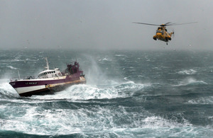 RAF Sea King search and rescue helicopter approaches French fishing vessel 'Alf' [Picture: Crown copyright]