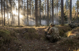 Sun streams through the fields of a Norwegian forest as a rifleman looks over a trench