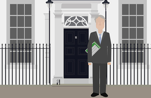 Cartoon Chancellor stood outside No.11