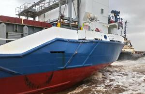 Celtic Spirit damage to port side quarter