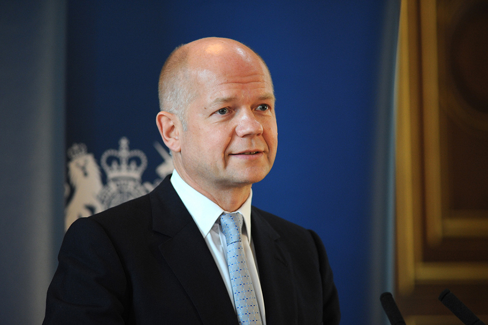 The UK Foreign Secretary, Mr William Hague