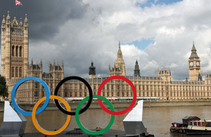 The Olympic rings on the River Thames outside the Houses of Parliament, 6 August 2012.