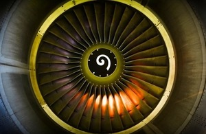Close up of fan engine and turbine blades.