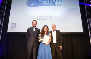 The 'Young Industrialist Award' went to Sellafield Ltd employee, Rojiar Ferschy (seen here with comedian Alun Cochrane and a representative from award sponsor, BakerHicks.)