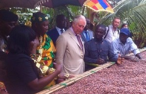 HRH The Prince of Wales visiting a cocoa farm in Ghana that is supported by UK aid. Picture: Philip Smith/DFID