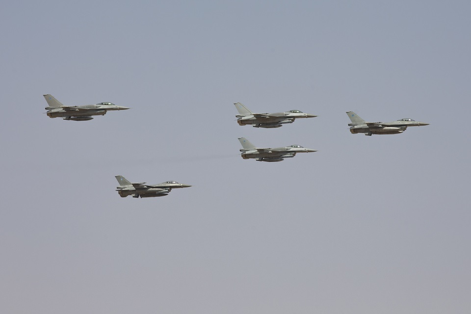 Fast jets t lead a flypast during the Exercise Saif Sareea 3 firepower demonstration.