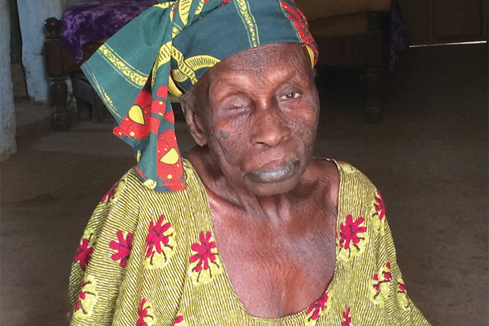 85-year-old Bakoto Jobe, pictured at her home in The Gambia. Bakoto's husband was a corporal in the First Gambia Regiment who fought in Burma.