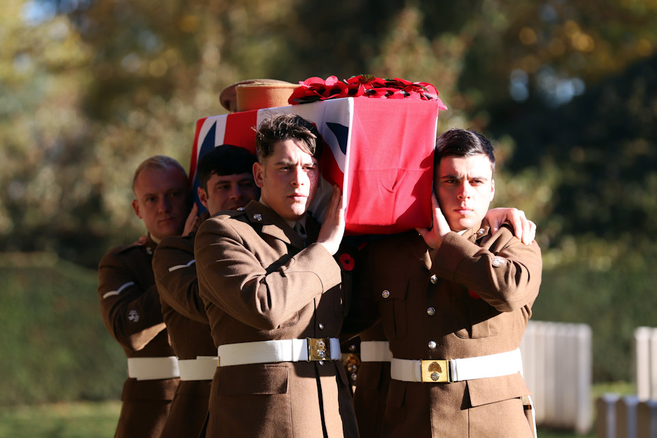 The Royal Regiment of Fusiliers who formed the bearer party take the unknown British soldier to his final resting place, Crown Copyright, All rights reserved
