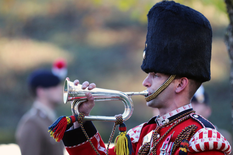 A bugler of the Royal Regiment of Fusiliers, Crown Copyright, All rights reserved