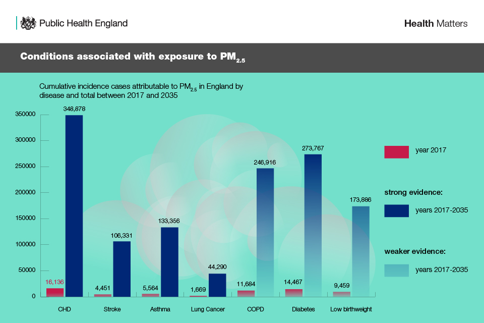 Infographic showing conditions linked with exposure to PM2.5