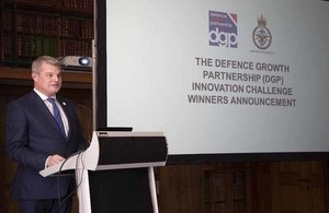 Defence Minister Stuart Andrew announces the winners of the Innovation Challenge. Crown copyright