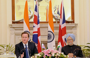 Prime Minister David Cameron with Indian Prime Minister Dr Manmohan Singh