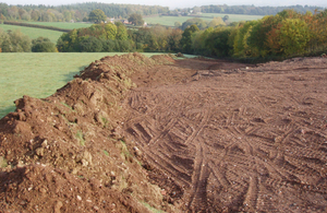 Close up of the soil and subsoil dumped on farmland at Poltimore, Exeter