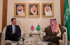 Jeremy Hunt with the Saudi Arabian Foreign Minister Adel Aljubeir
