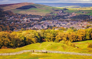 View of Buxton village in autumn season in National Peak District in UK.