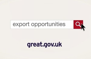 An infographic showing the export opportunities website search function