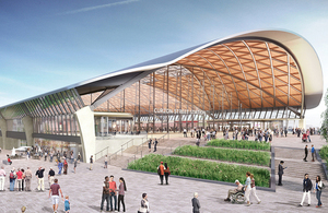 Daytime view of the designs for the new HS2 Curzon Street station.