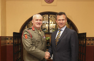 Minister for the Armed Forces Mark Lancaster shakes hands with His Excellency the Governor of Gibraltar