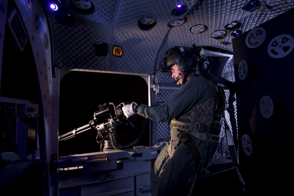 RAF gunner using the Chinook Mk 6 synthetic training facility.