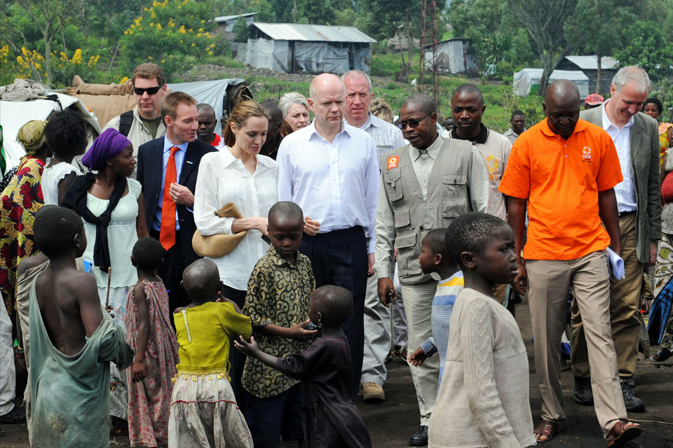 William Hague and Angelina Jolie visit Lac vert IDP camp
