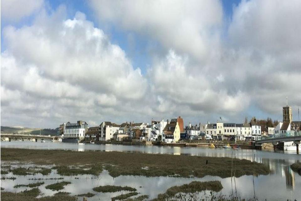 View of houses overlooking Shoreham harbour