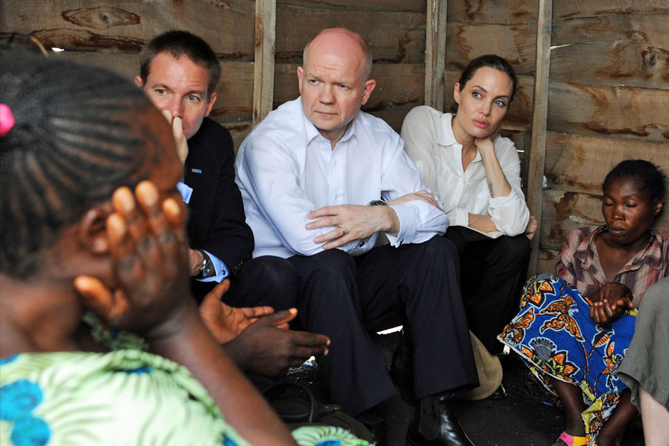 William Hague and Angelina Jolie visit Nzolo IDP camp
