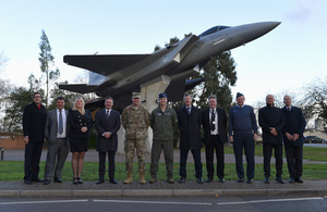 11 Leaders from RAF Lakenheath all lined up and smiling at the camera.