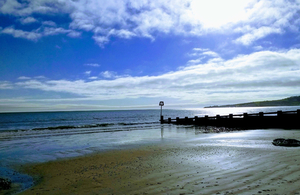 The beach in Swanage bay