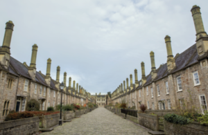 Rows of houses in the town of Wells in Somerset