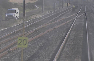 Photo showing the 20 mph commencement board and the termination board for the emergency speed restriction (still taken from ffcctv footage from the incident train, courtesy of LNER)