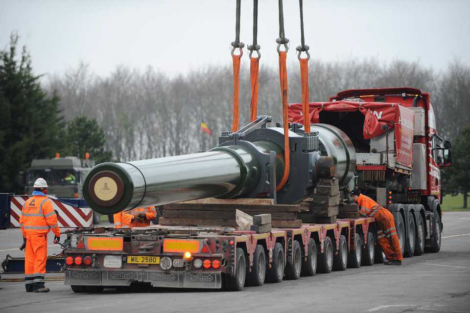 Gun barrel on the back of the lorry