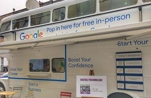 The Google Digital Garage bus hosting a training seminar on board.