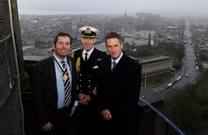 Defence Secretary Gavin Williamson, Lord Provost of Edinburgh, Frank Ross smiling at the camera.