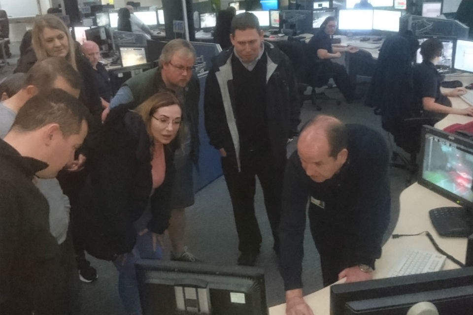 Image showing Wirral and Chester group instructors on their recent NW Regional Control Centre visit