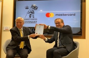 Defence Minister Earl Howe co-signs the Armed Forces Covenant with Mastercard