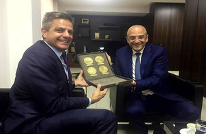 Simon Penney HMTC with Minister of Trade and Economy Raed Khoury
