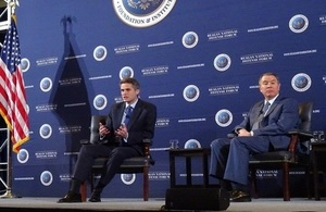 Defence Secretary Gavin Williamson speaks at the Reagan National Defense Forum, in California.