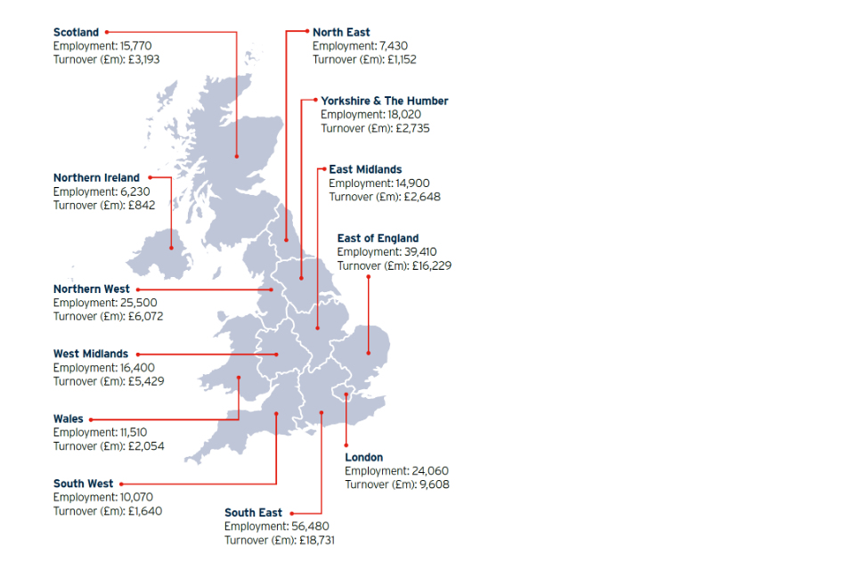 Map showing the distribution of the UK's vibrant life sciences industry