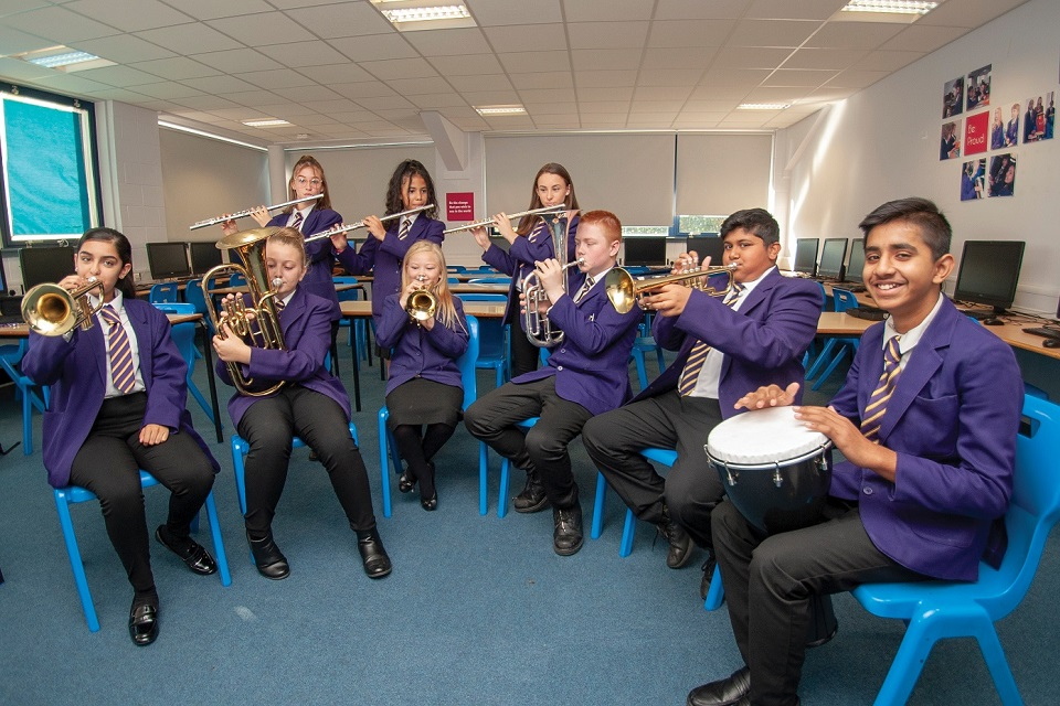 Group of secondary school pupils playing wind instruments and percussion