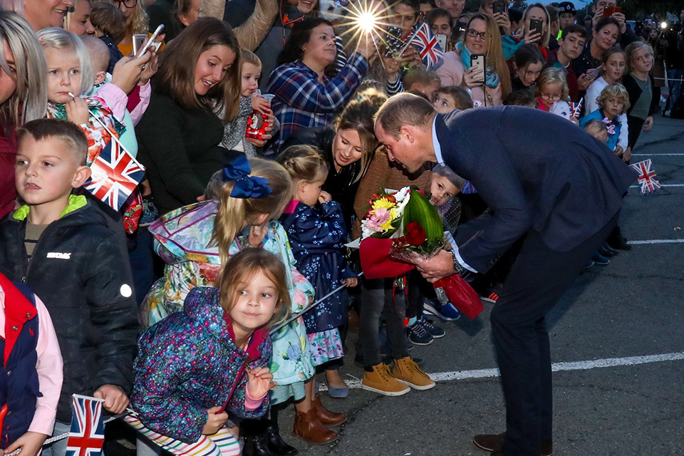 His Royal Highness the Duke of Cambridge meets with the children of military personnel currently based at Cyprus