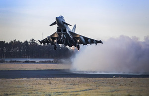 RAF Typhoon equipped with Meteor missiles takes off from RAF Lossiemouth