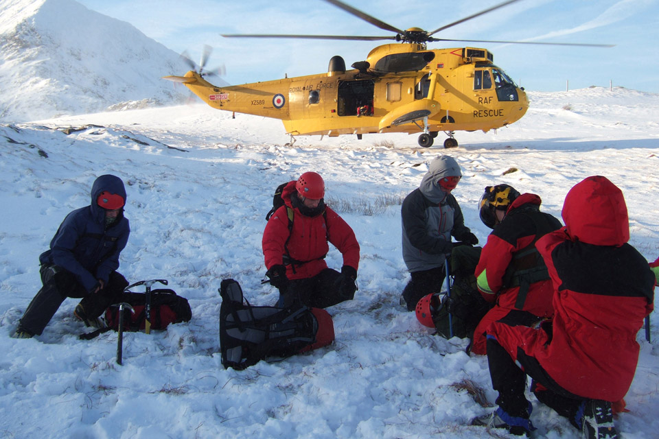 An RAF search and rescue helicopter during a mountain rescue