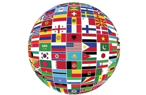 A globe made up of flags from different countries.