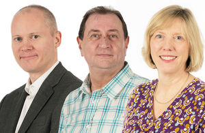 Dstl STEM Returners: Giles Moore, Tom Shuttleworth and Ann Stanhope